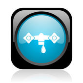 Water black and blue square web glossy icon — 图库照片