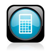 Calculator black and blue square web glossy icon — Stock Photo