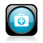 черный комплект первой помощи и голубой квадратный веб глянцевой значок — Стоковое фото