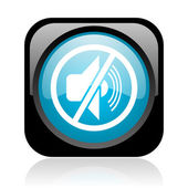Mute black and blue square web glossy icon — Stock Photo