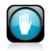 Stop black and blue square web glossy icon — Stock Photo