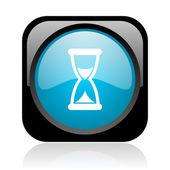 Czas czarny i niebieski kwadrat Www błyszczący ikona — Zdjęcie stockowe