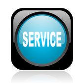 Service black and blue square web glossy icon — Stockfoto
