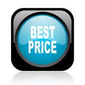 Mejor precio icono brillante web cuadrado negro y azul — Foto de Stock
