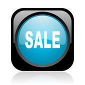 Sale black and blue square web glossy icon — Stock Photo