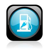 Combustível lustroso ícone web quadrado preto e azul — Foto Stock
