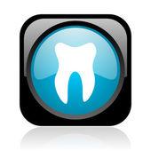 Icono brillante web cuadrado negro y azul del diente — Foto de Stock