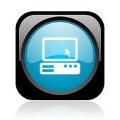 Pc noir et bleu carré web icône brillant — Photo