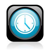 黒と青の正方形ウェブ光沢のあるアイコンをクロックします。 — ストック写真