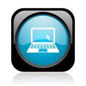 Caderno preto e azul quadrado web ícone brilhante — Foto Stock