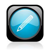 Pencil black and blue square web glossy icon — Stock Photo