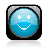 Smile black and blue square web glossy icon — Stock Photo