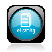 E-learning black and blue square web glossy icon — Stock Photo