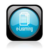 E-learning černé a modré čtvercové web lesklý ikona — Stock fotografie