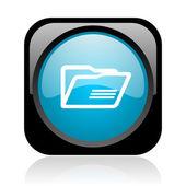 Dossier noir et bleu carré web icône brillant — Photo
