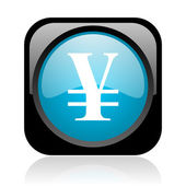 Yen black and blue square web glossy icon — Stock Photo