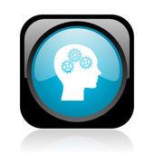Głowy czarny i niebieski kwadrat www błyszczący ikona — Zdjęcie stockowe