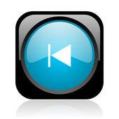 Prev preto e azul quadrado web ícone brilhante — Foto Stock