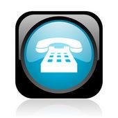 手机黑色和蓝色方形 web 光泽图标 — 图库照片