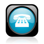 Phone black and blue square web glossy icon — Stock Photo