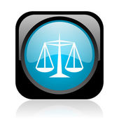 Justice black and blue square web glossy icon — Stock Photo