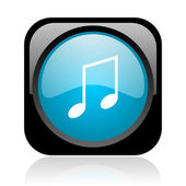 Music black and blue square web glossy icon — Stock Photo