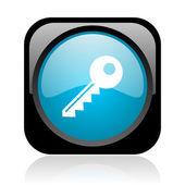 Parlak siyah ve mavi anahtar kare web simgesi — Stok fotoğraf
