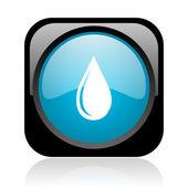 L'eau goutte noir et bleu carré web icône brillant — Photo
