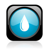 Water drop zwart en blauw vierkant web glanzende pictogram — Stockfoto