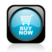 Buy now black and blue square web glossy icon — Stock Photo