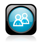 光沢のあるアイコンを web フォーラム黒と青正方形 — ストック写真