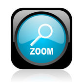 Zoom black and blue square web glossy icon — Stock Photo