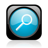 Search black and blue square web glossy icon — Stock fotografie