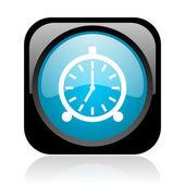 Budzik czarny i niebieski kwadrat www błyszczący ikona — Zdjęcie stockowe