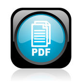 Pdf black and blue square web glossy icon — Stock Photo