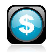 сша доллар черный и голубой квадратный веб глянцевой значок — Стоковое фото