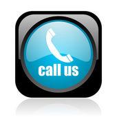 Appelez-nous icône glossy web carré noir et bleu — Photo