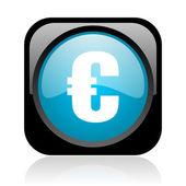 Parlak simge web euro siyah ve mavi kare — Stok fotoğraf