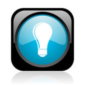 Light bulb black and blue square web glossy icon — Stock Photo