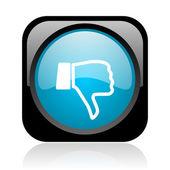 большой палец вниз глянцевый черный и голубой квадратный веб-значок — Стоковое фото