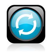 Recarregar o ícone brilhante web quadrado preto e azul — Foto Stock