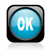 Ok black and blue square web glossy icon — Stock Photo