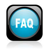 FAQ черный и голубой квадратный веб глянцевой значок — Стоковое фото