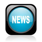 ニュース黒と青色の正方形の光沢のあるアイコンを web します。 — ストック写真