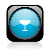 Sklo lesklé černé a modré čtvercové web ikony — Stock fotografie