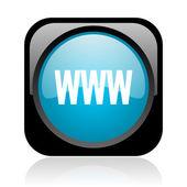 Www preto e azul quadrado web ícone brilhante — Foto Stock