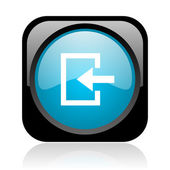 Entrez les glossy icône web carré noir et bleu — Photo