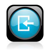 黒と青の正方形ウェブ光沢のあるアイコンを入力します。 — ストック写真