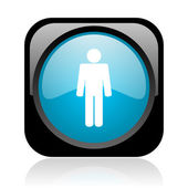Web adam siyah ve mavi kare parlak simgesi — Stok fotoğraf