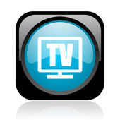 Tv černé a modré čtvercové web lesklý ikonu — Stock fotografie